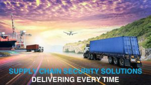 "Image of Lorry with text ""Supply Chain Security Solutions Delivering Every Time""."